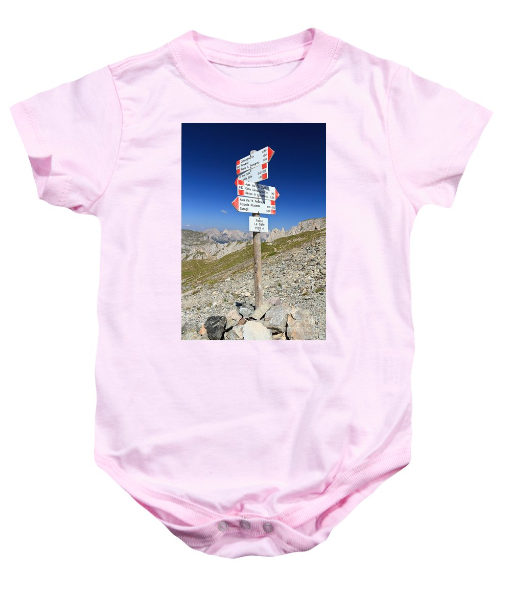Alpine Baby Onesie featuring the photograph Directions by Antonio Scarpi