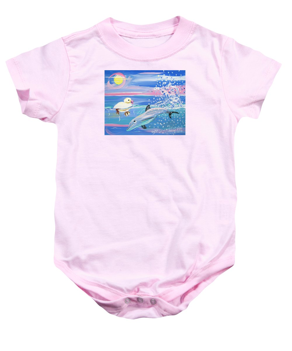 Sun Baby Onesie featuring the painting Dolphin Plays With Duckling by Phyllis Kaltenbach