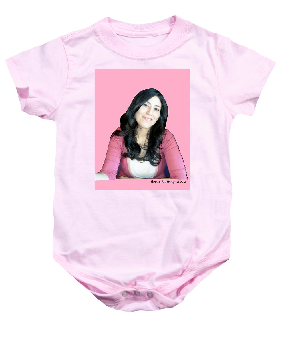 Donna Baby Onesie featuring the painting Donna In Pink by Bruce Nutting