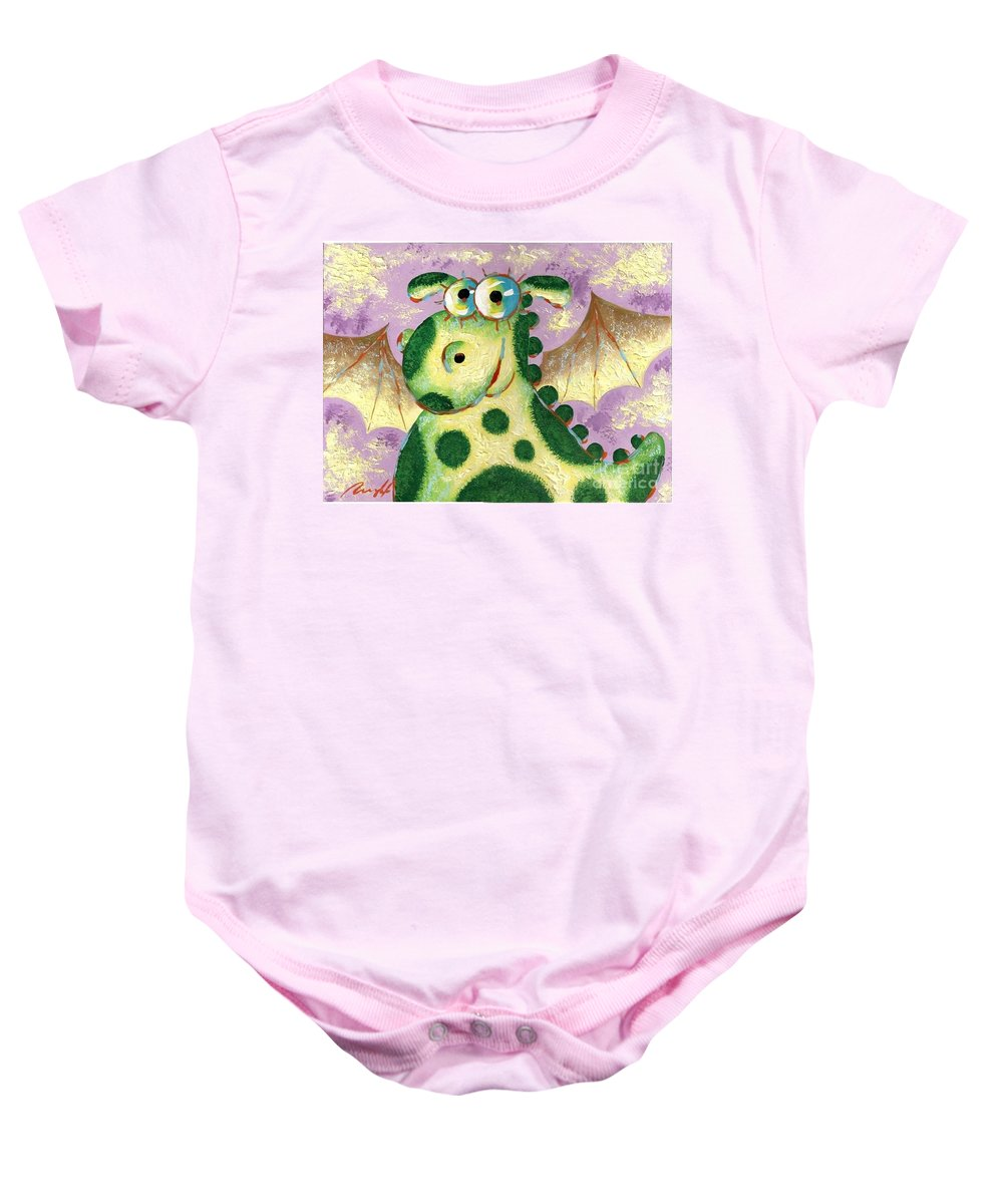 Dragon Baby Onesie featuring the painting Dragon by Sergey Lipovtsev