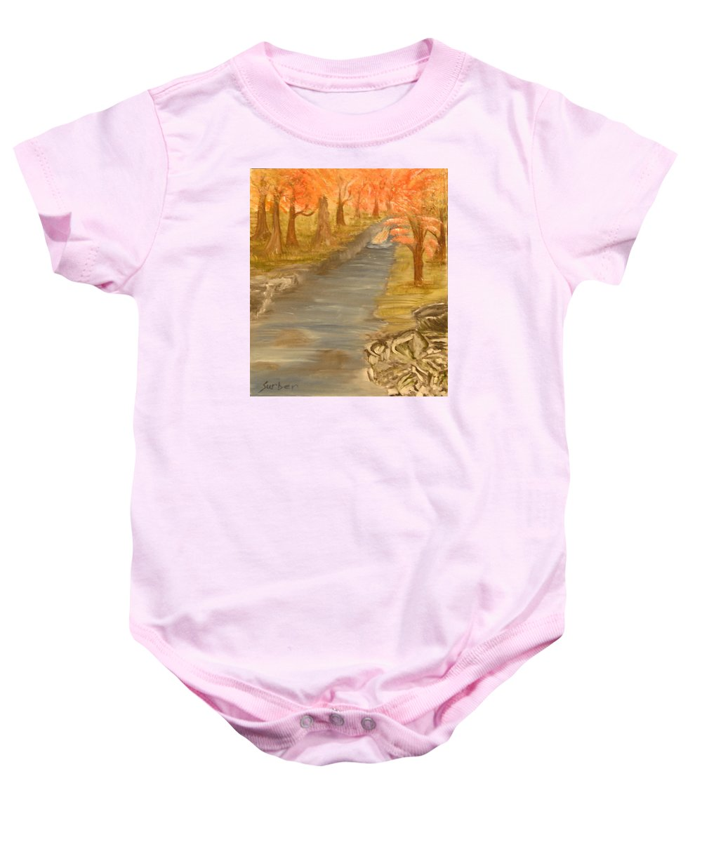 Forest Baby Onesie featuring the painting Drifting Away by Suzanne Surber
