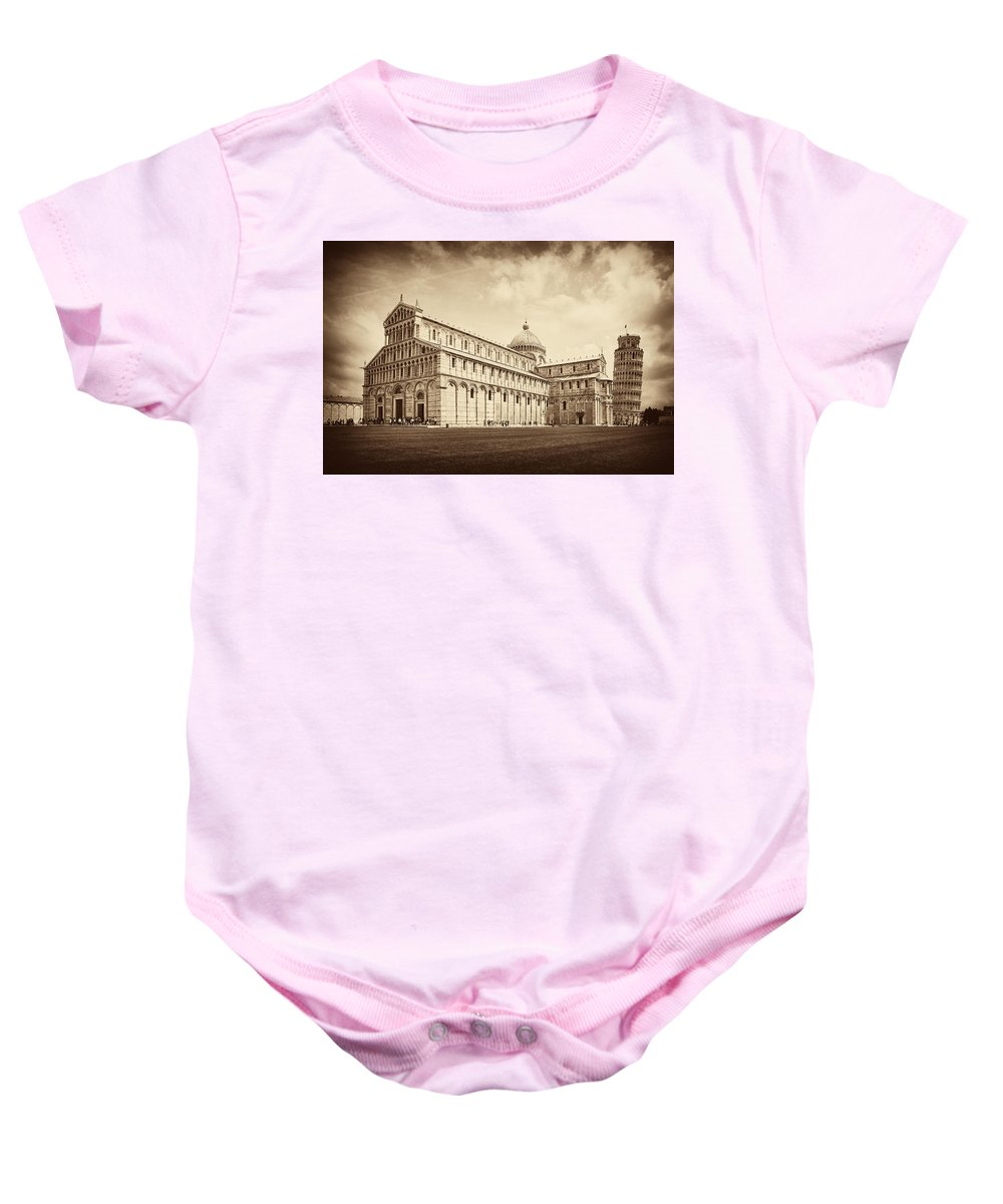 Leaning Tower Of Pisa Baby Onesie featuring the photograph Duomo And Tower by Hugh Smith