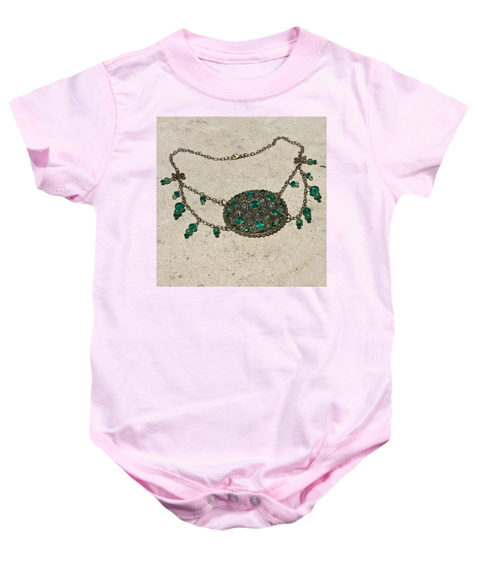 Ooak Baby Onesie featuring the jewelry Emerald Vintage New England Glass Works Brooch Necklace 3632 by Teresa Mucha