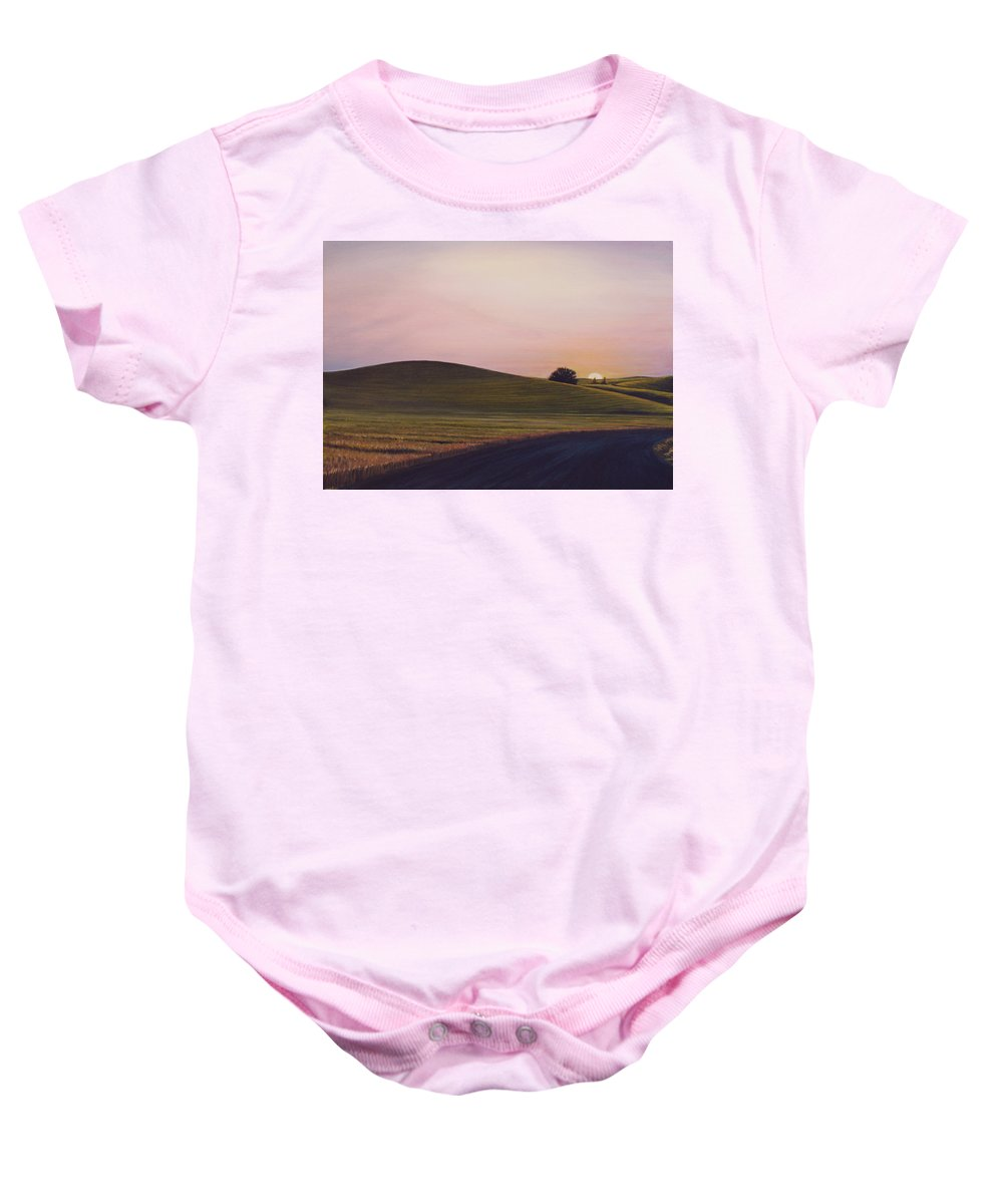 Wheat Baby Onesie featuring the painting Evening Near Viola by Leonard Heid