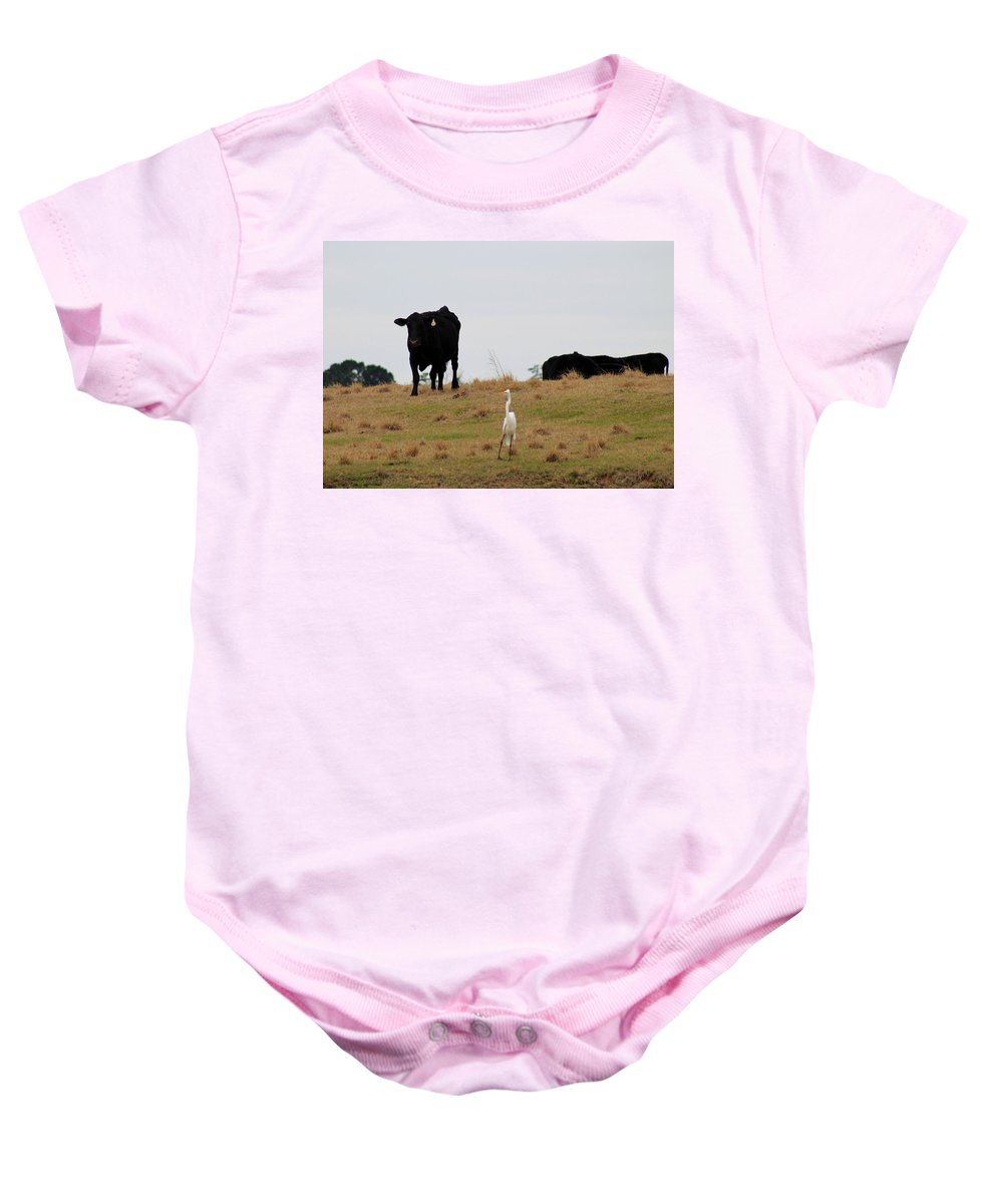 Moo Baby Onesie featuring the photograph Excuse Me. Do You Speak Moo by Mary Koval