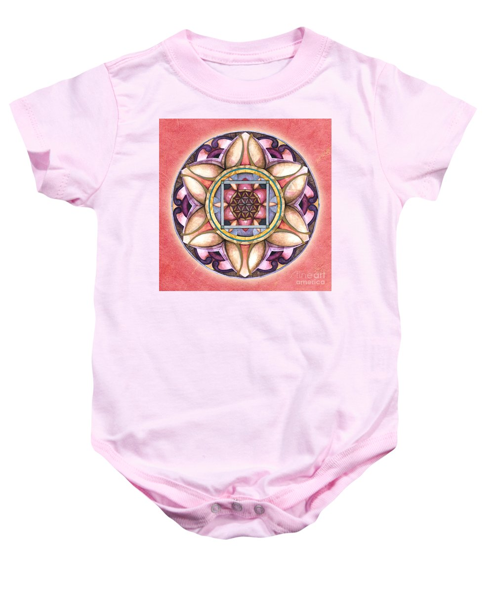 Mandala Art Baby Onesie featuring the painting Faith Mandala by Jo Thomas Blaine