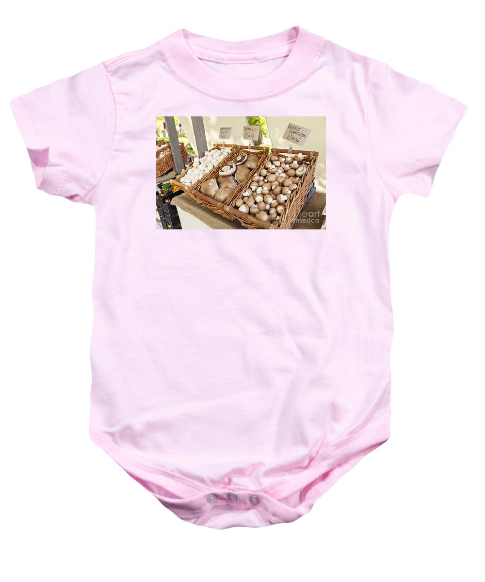 Market Baby Onesie featuring the photograph Farmers Market Mushrooms by Sophie McAulay