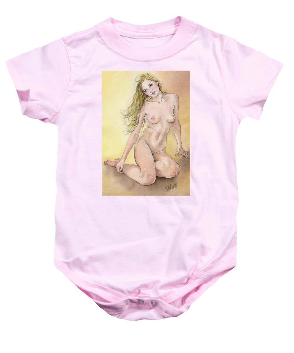 Nude Baby Onesie featuring the painting Figure Study In Watercolour by Margaret Merry