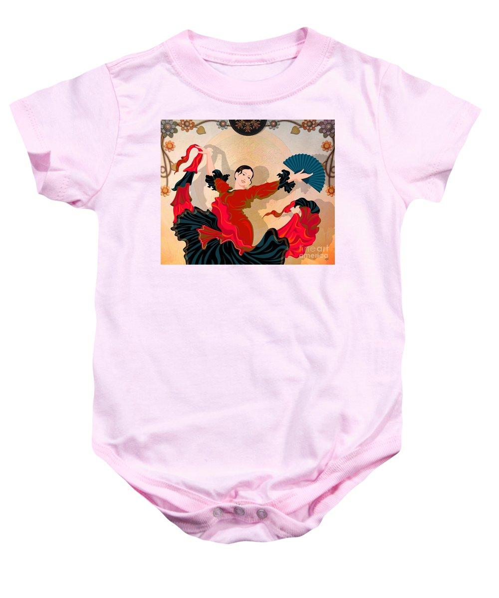 Design Baby Onesie featuring the digital art Flamenco Dancer by Peter Awax