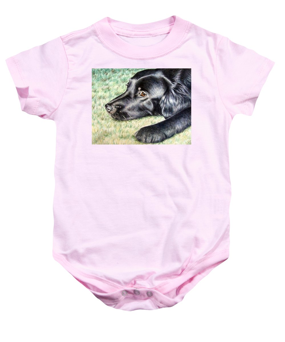 Dog Baby Onesie featuring the painting Flat Coated Retriever by Nicole Zeug