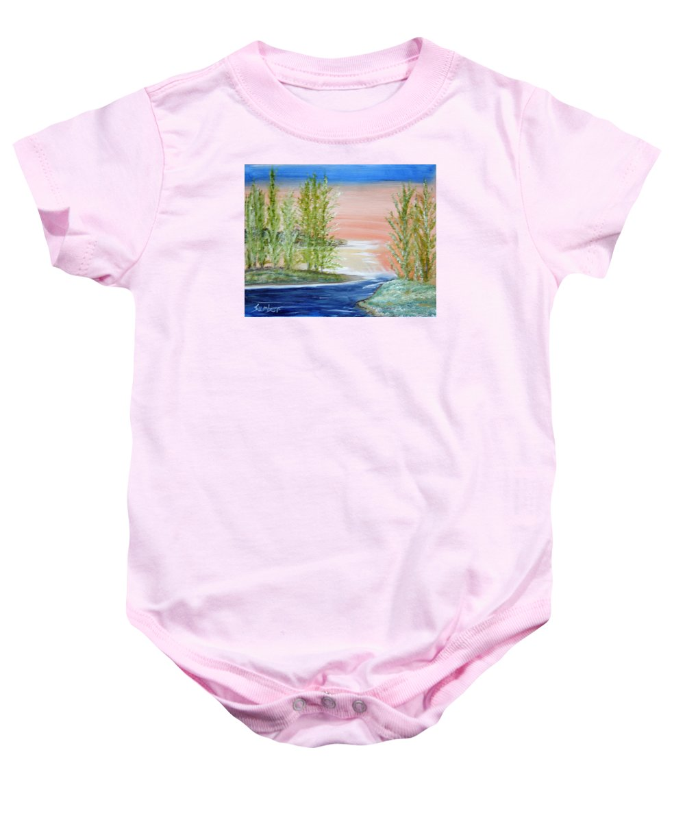 Flathead Baby Onesie featuring the painting Flathead Lake Sunset by Suzanne Surber