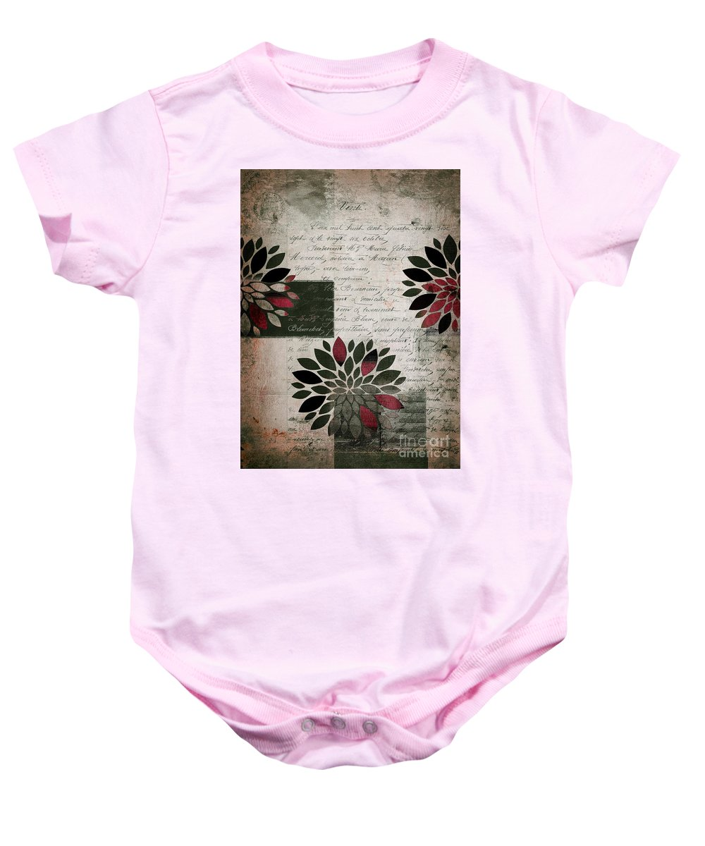 Gray Baby Onesie featuring the digital art Floralis - 889a by Variance Collections