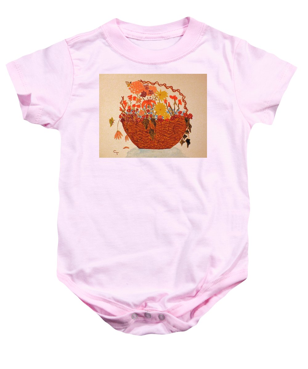 Claudia Thomas Baby Onesie featuring the painting Flower Basket by Claudia Thomas