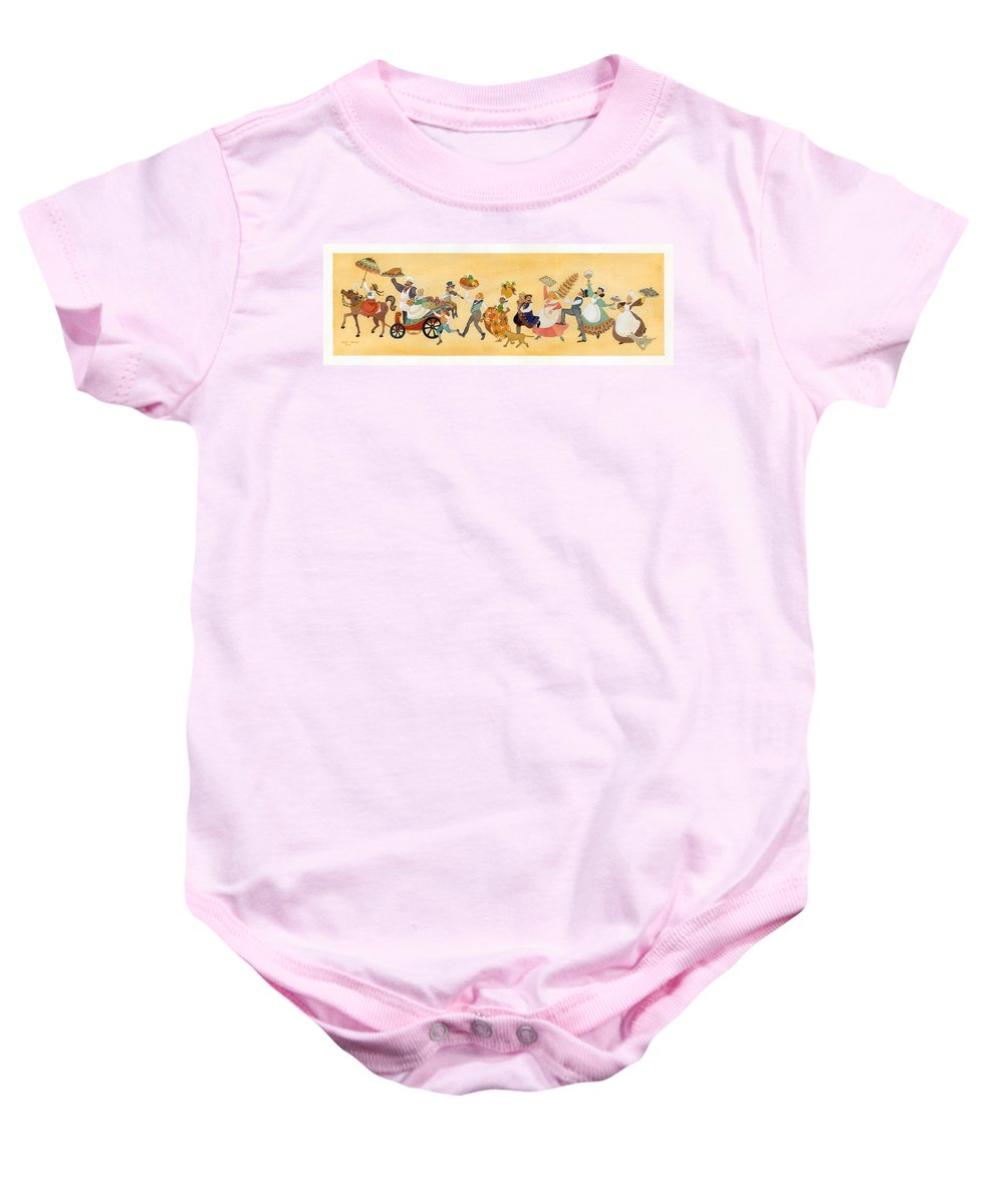 Baby Onesie featuring the painting Food Parade II by Heidi White
