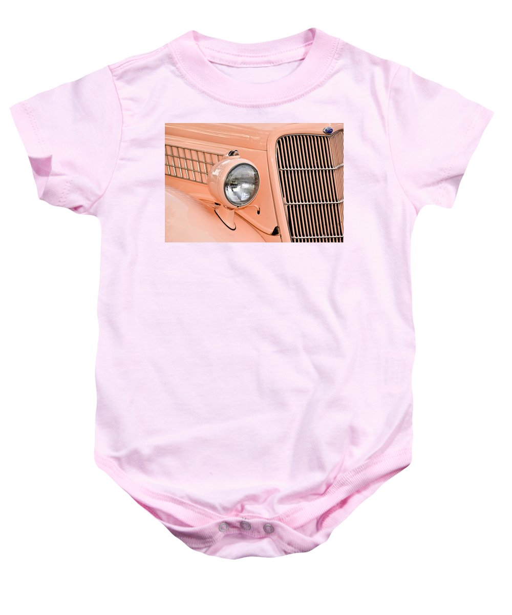 Automobile Baby Onesie featuring the photograph Ford Classic In Salmon by Carolyn Marshall