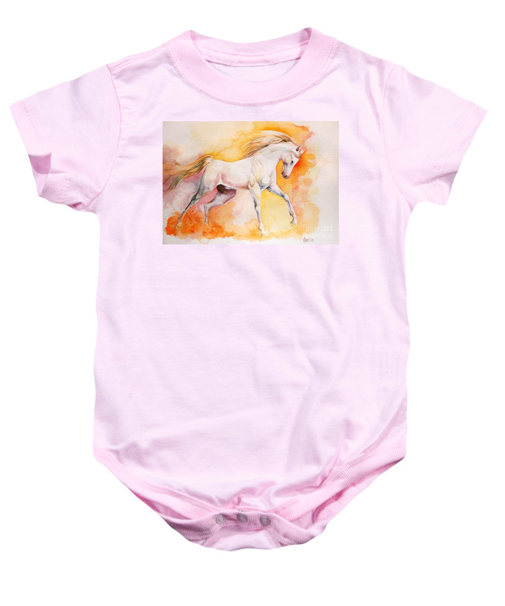 Horse Baby Onesie featuring the painting Freedom by Tamer and Cindy Elsharouni