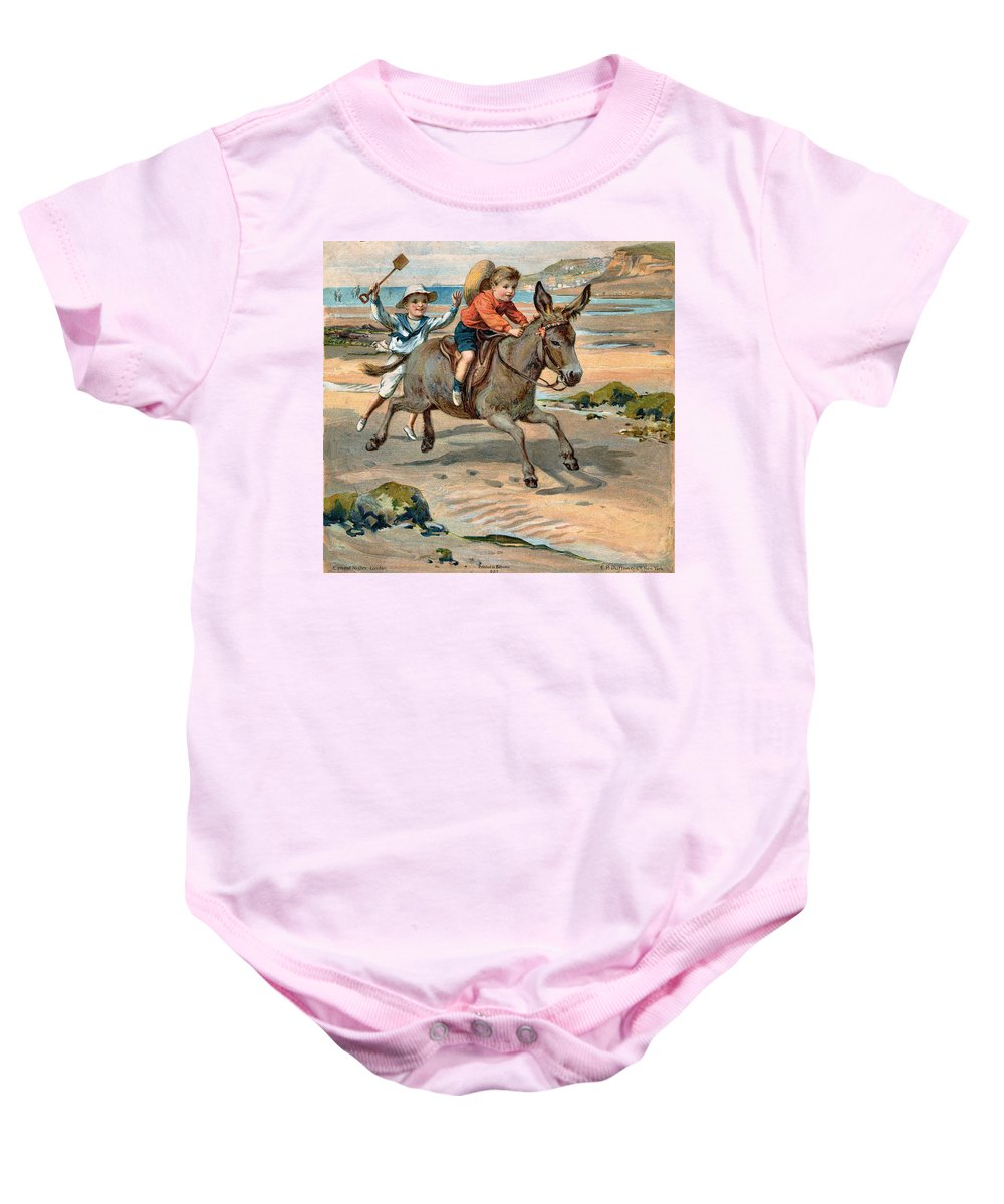 Little Girl At The Beach Baby Onesie featuring the digital art Galloping Donkey At The Beach by Unknown