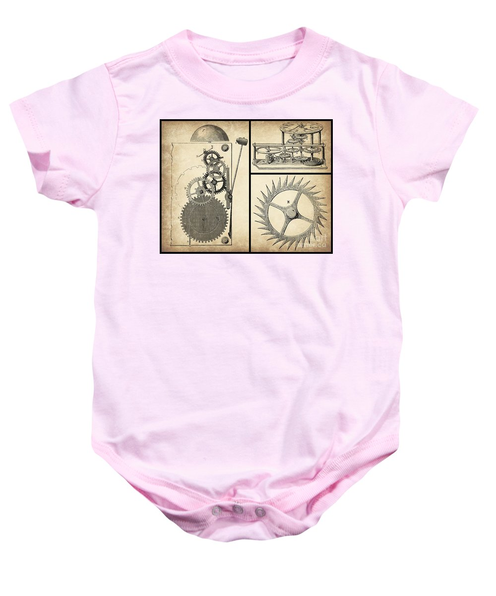 Gears Baby Onesie featuring the digital art Gears Industrial Or Steampunk Collage Art by Tricia CastlesNcrowns