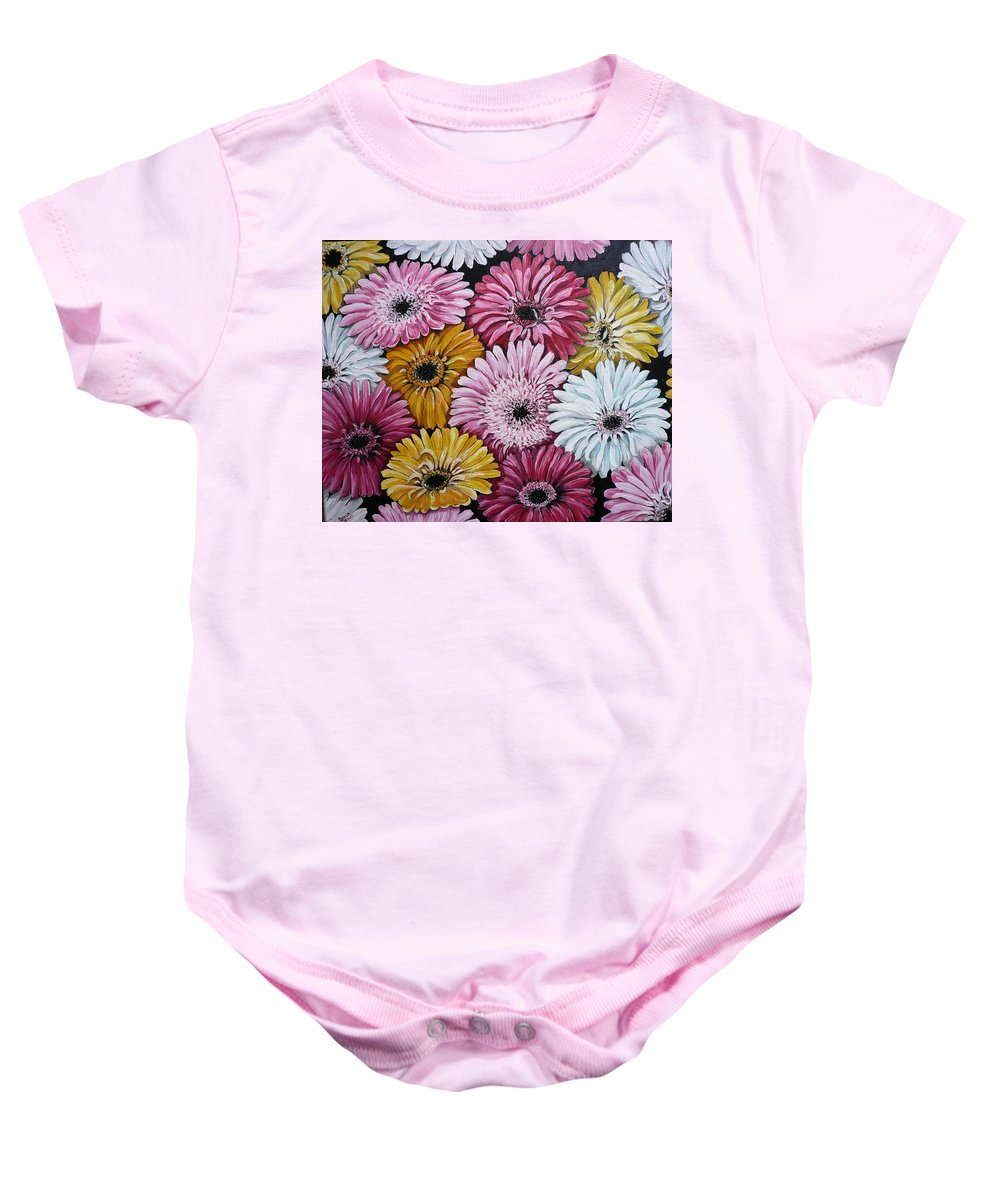Flower Paintings Daisy Paintings Floral Paintings Blooms Color .gerbera Daisy Paintings Greeting Card Painting S Canvas Painting Poster Print Paintings Baby Onesie featuring the painting Gebera Daisies by Karin Dawn Kelshall- Best