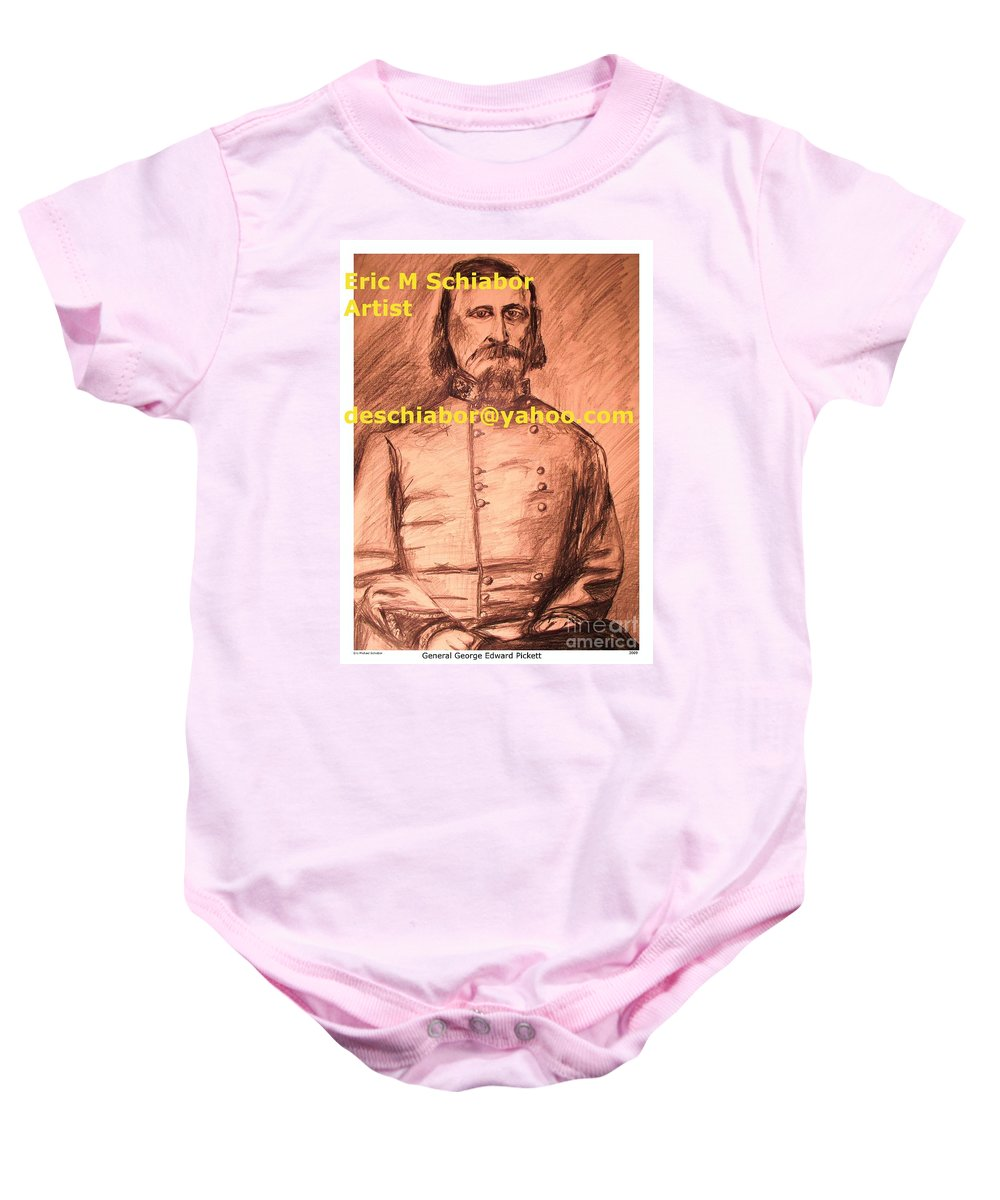 General Pickett Baby Onesie featuring the painting General Pickett Confederate by Eric Schiabor