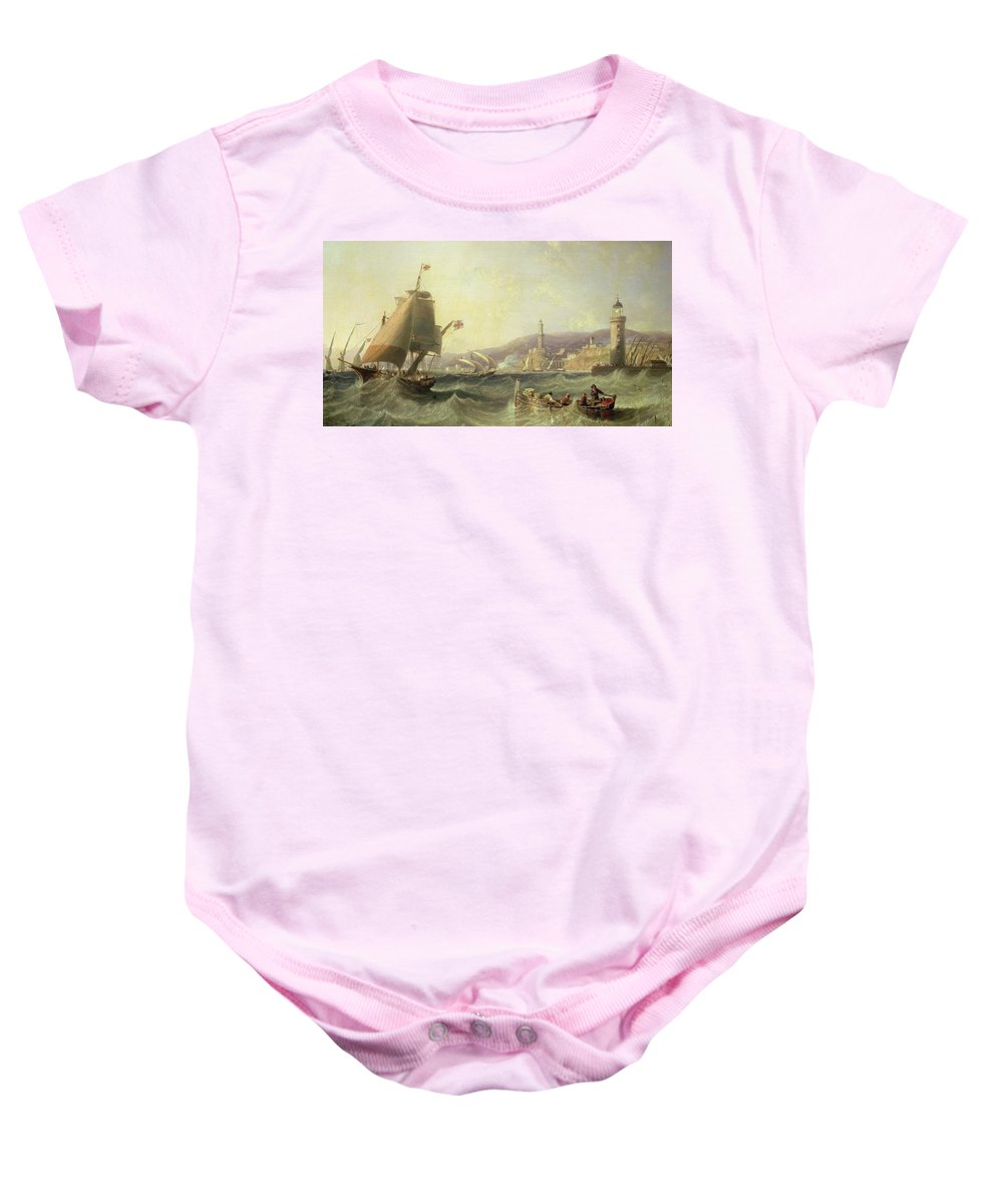 Boat Baby Onesie featuring the painting Genoa by John Wilson Carmichael