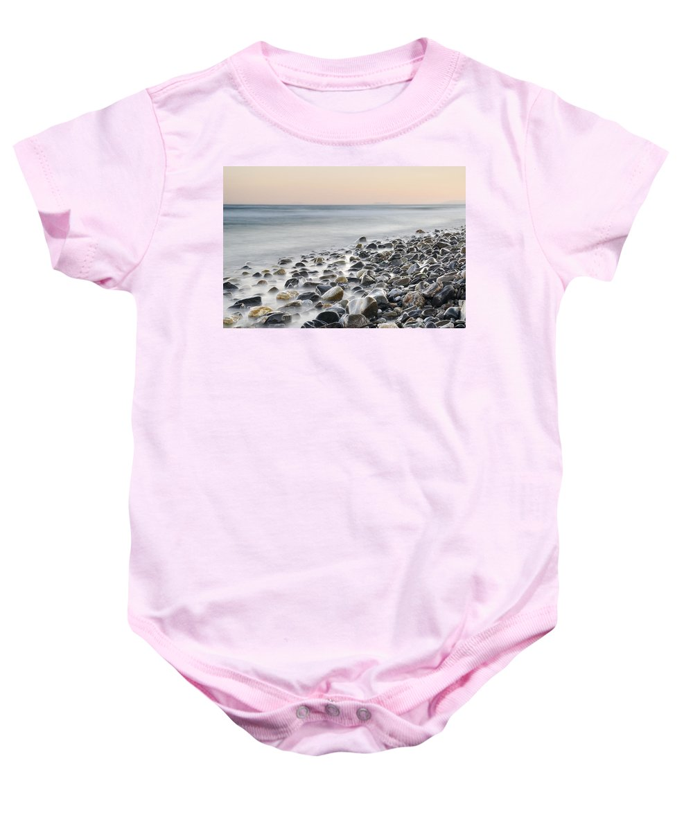 Seascape Baby Onesie featuring the photograph Gibraltar And Africa At Pink Sunset by Guido Montanes Castillo