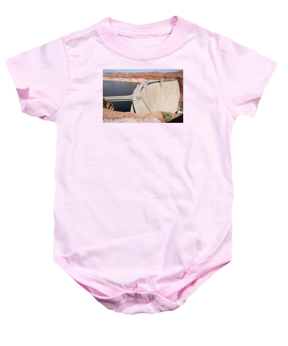 Lake Baby Onesie featuring the photograph Glen Canyon Dam by Christiane Schulze Art And Photography