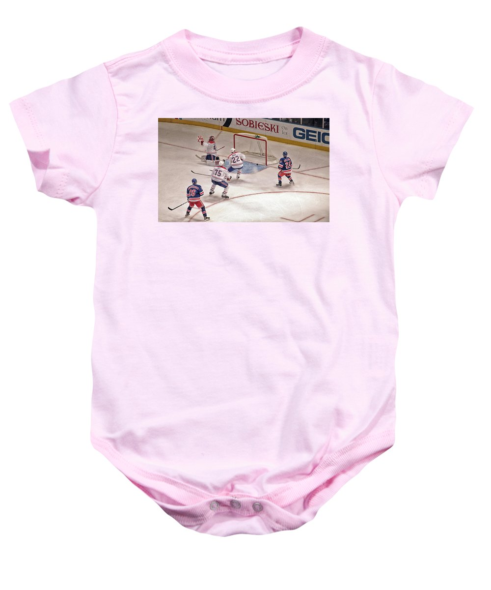 Hockey Baby Onesie featuring the photograph Goal by Karol Livote