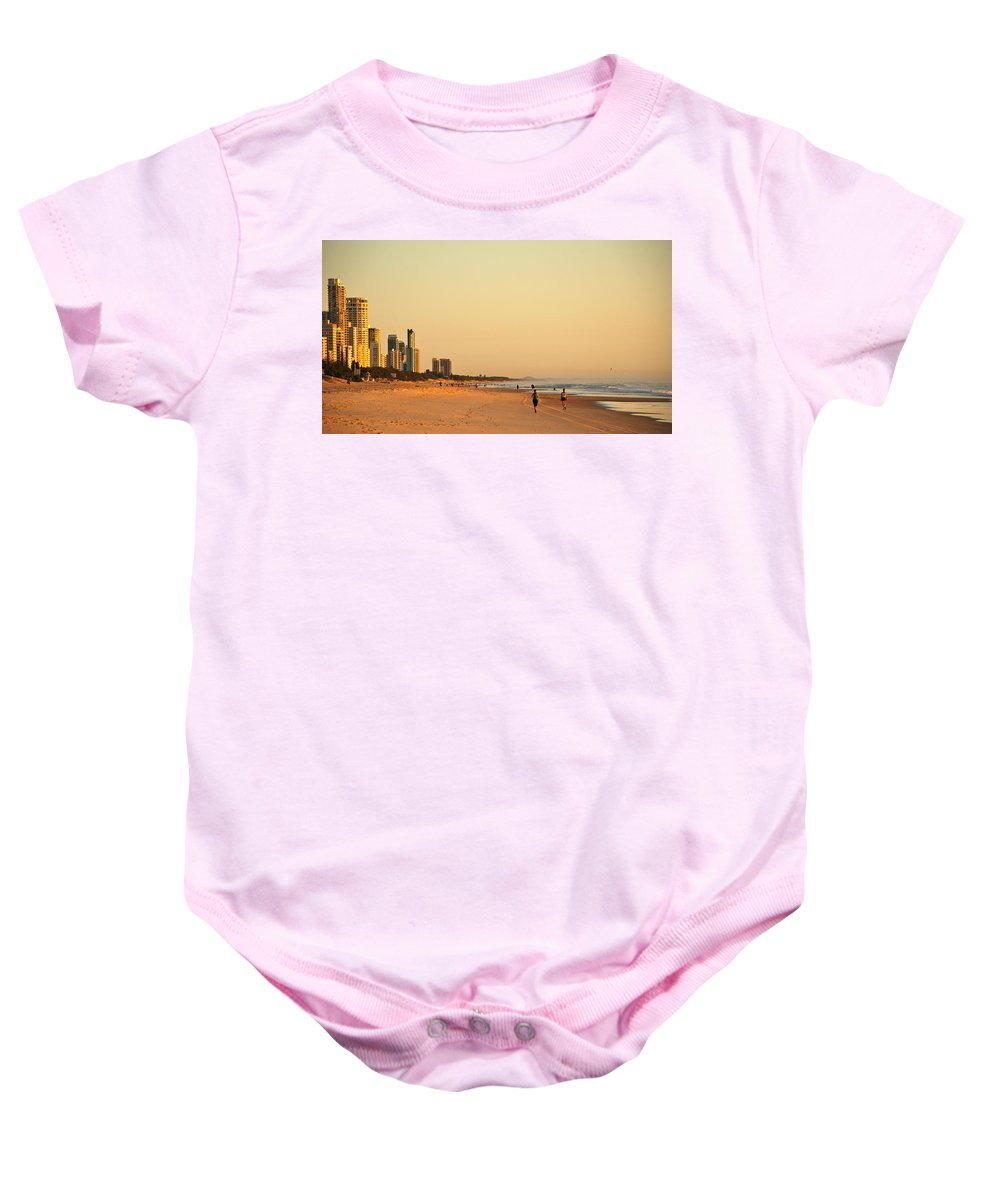 Beach Baby Onesie featuring the photograph Gold Coast Beach by Eric Tressler