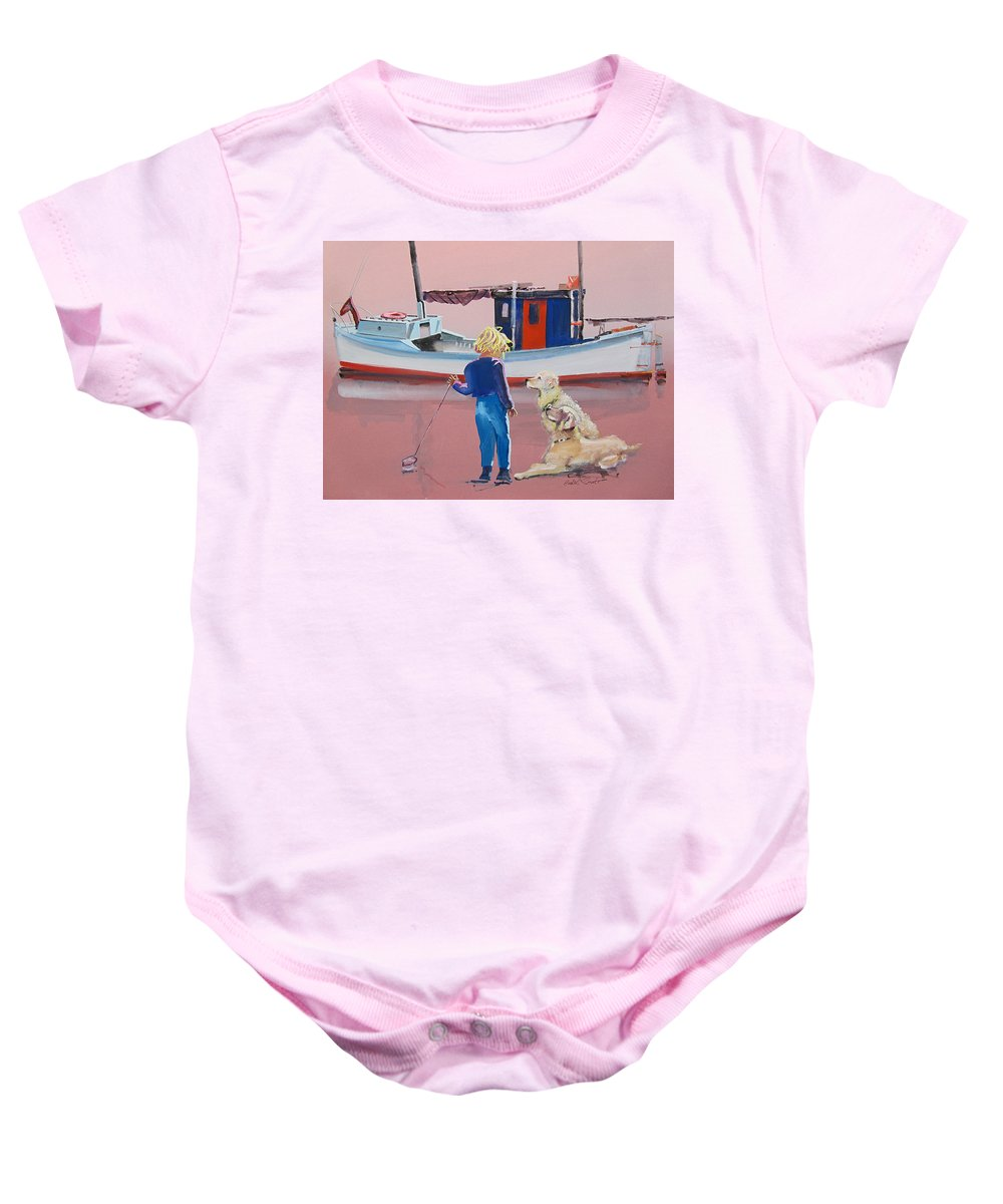 Retriever Baby Onesie featuring the painting Golden Retrievers by Charles Stuart