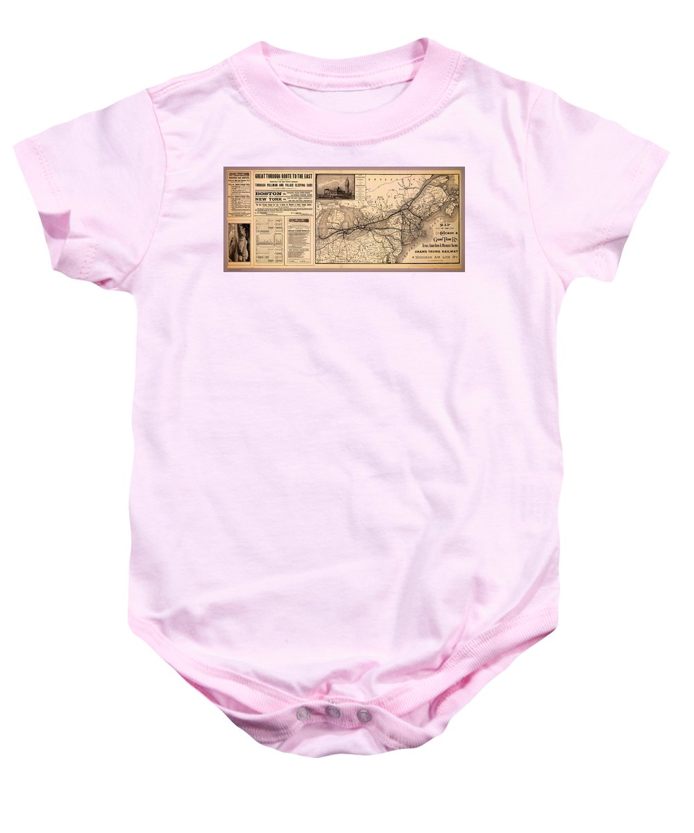 Map Baby Onesie featuring the drawing Grand Trunk Railway Map 1887 by Mountain Dreams