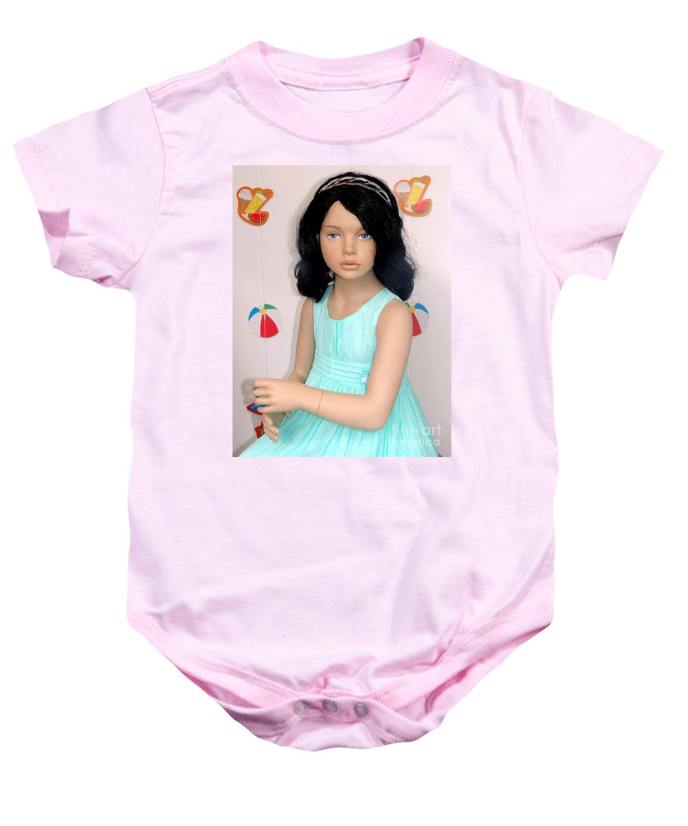 Mannequin Baby Onesie featuring the photograph Grecian Girl by Ed Weidman