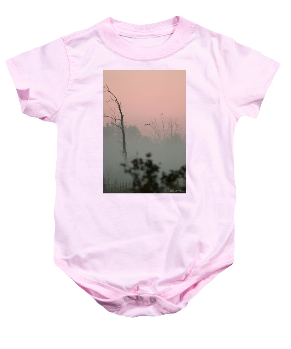 Hawk Baby Onesie featuring the photograph Hawk In Morning Fog by Crystal Heitzman Renskers