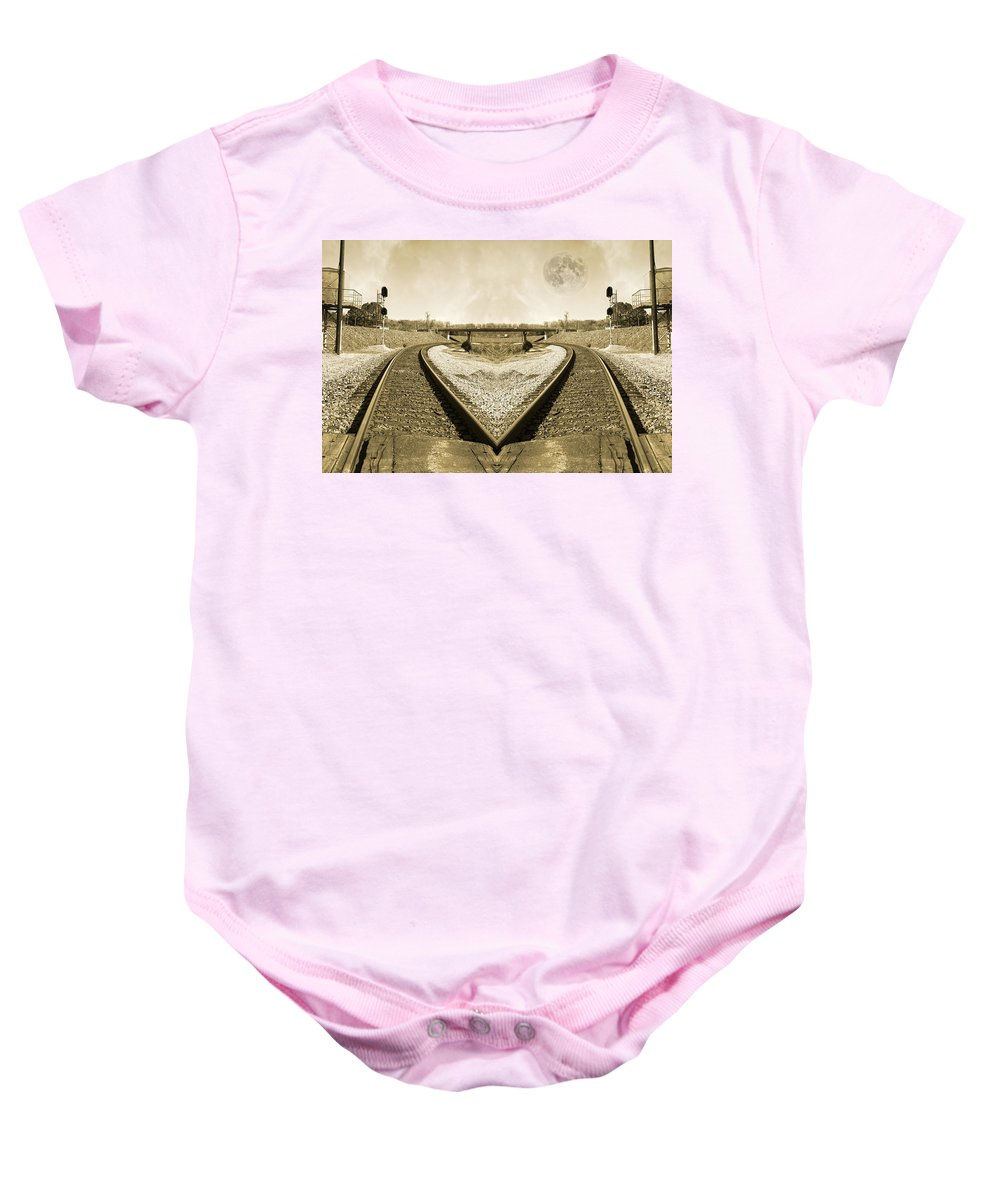 Train Baby Onesie featuring the photograph Heart Tracks by Betsy Knapp