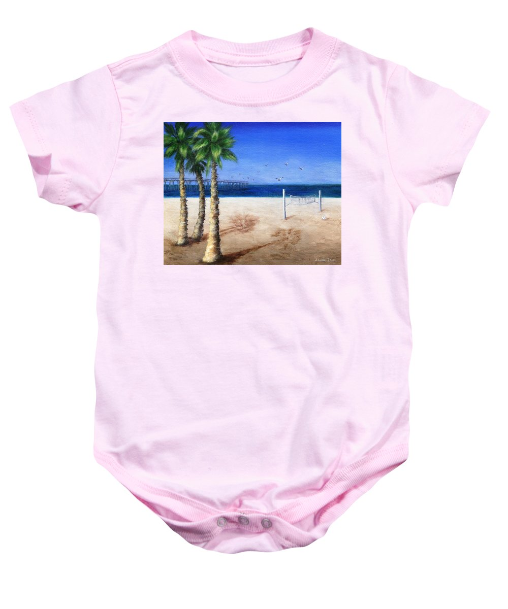 Palm Baby Onesie featuring the painting Hermosa Beach Pier by Jamie Frier