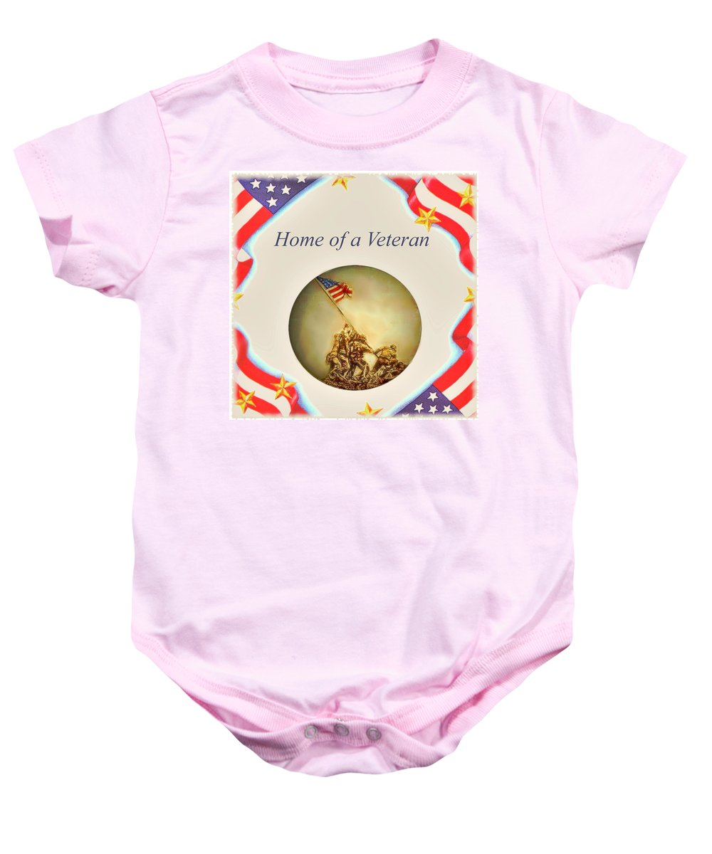 Art Baby Onesie featuring the painting Home of a Veteran by Charles Ott