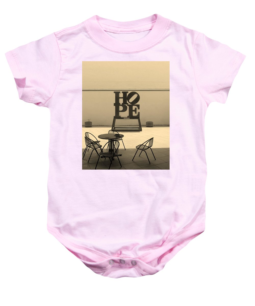 Hope Baby Onesie featuring the photograph Hope And Chairs In Sepia by Rob Hans
