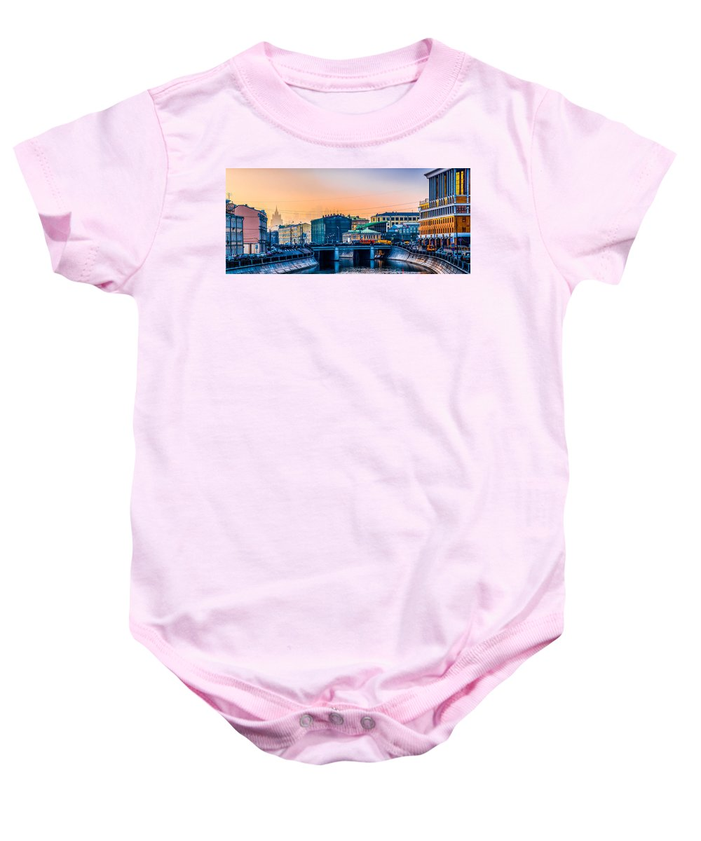 Moscow Baby Onesie featuring the photograph Iron Bridge Panorama by Alexander Senin