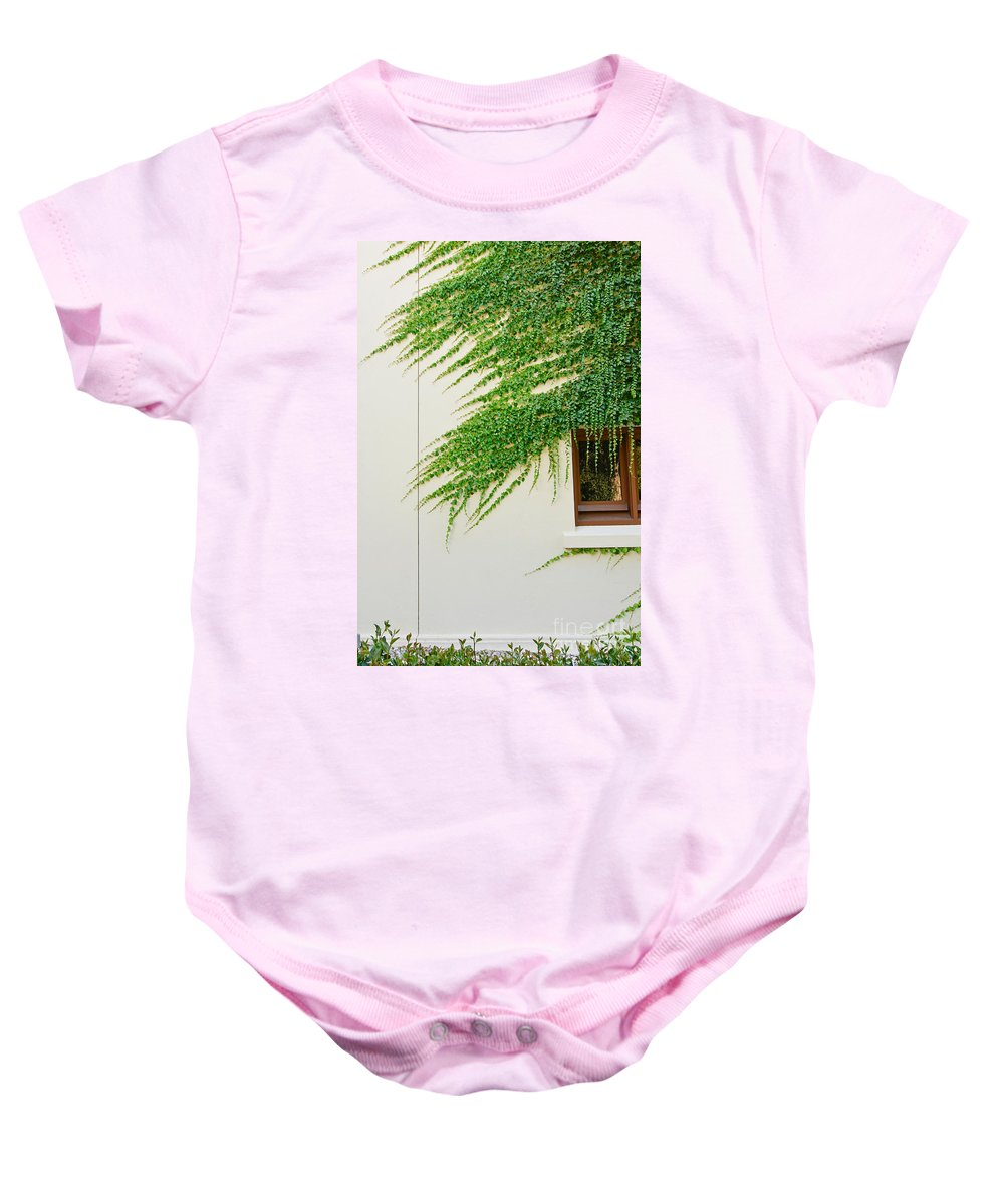 Window Baby Onesie featuring the photograph Ivy - Window Covered By Creeping Ivy. by Jamie Pham