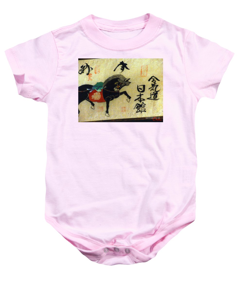 Calligraphy Baby Onesie featuring the photograph Japanese Horse Calligraphy Painting 01 by Feile Case