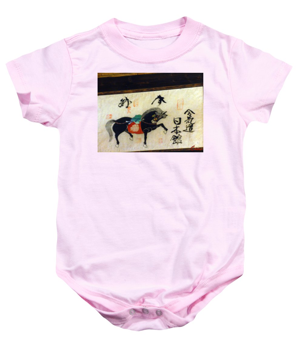 Calligraphy Baby Onesie featuring the photograph Japanese Horse Calligraphy Painting 02 by Feile Case