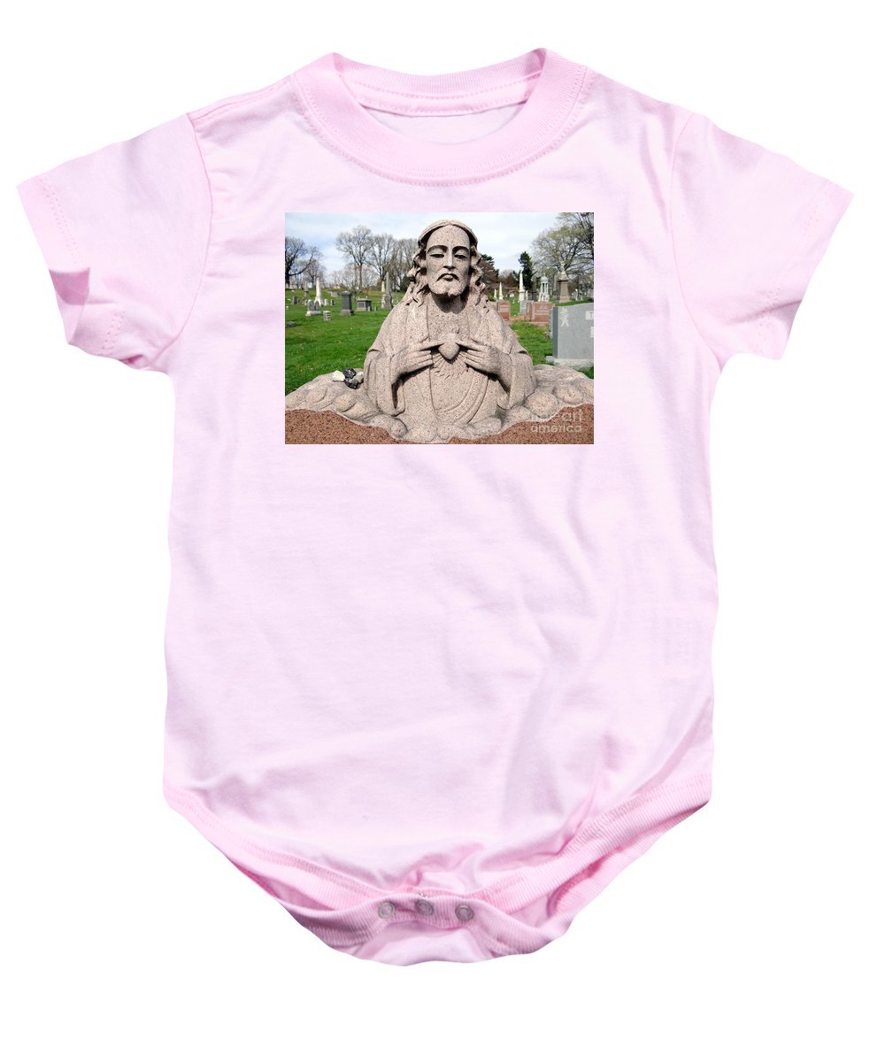 Statue Baby Onesie featuring the photograph Jesus In Granite by Ed Weidman