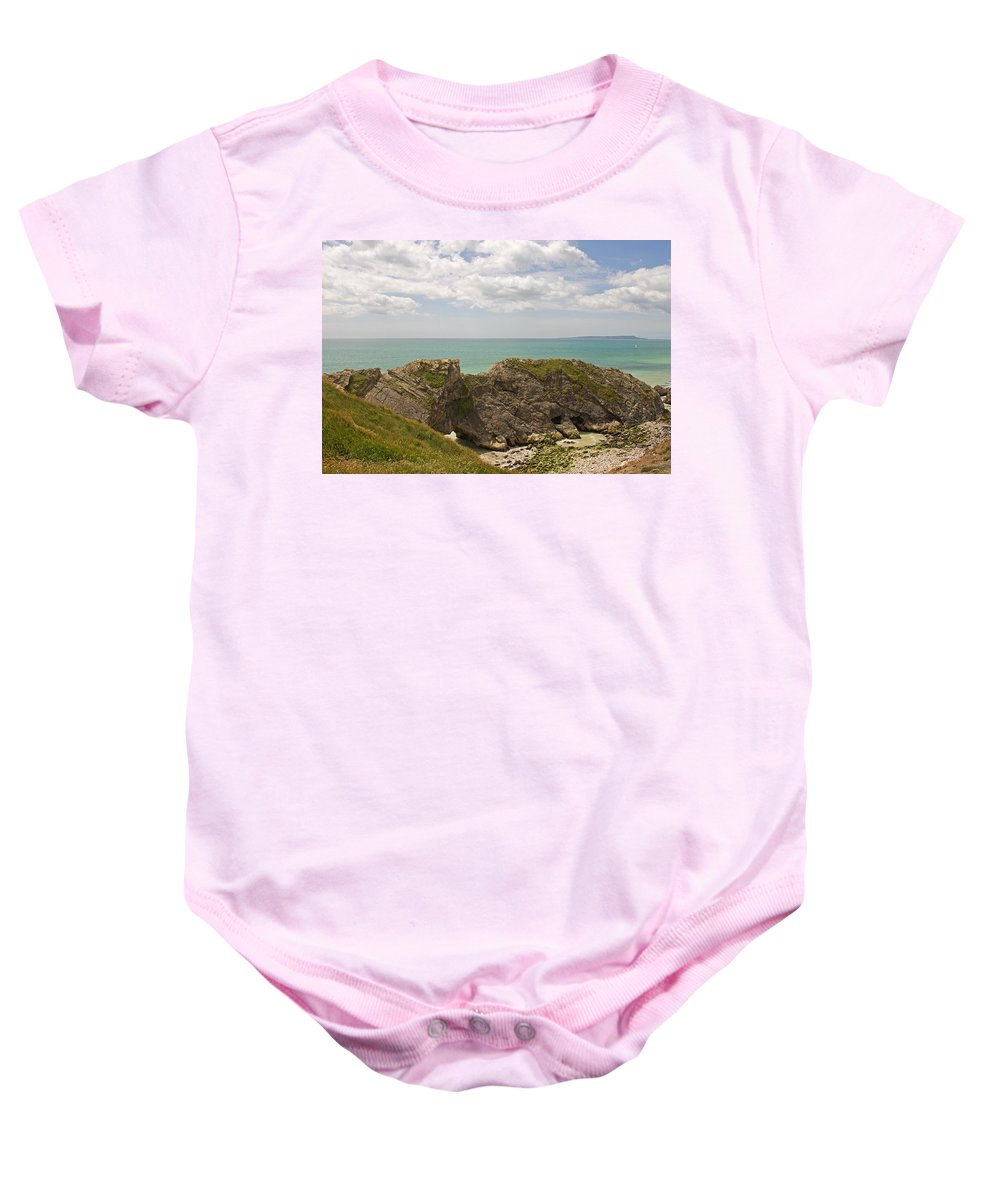Lulworth Cove Baby Onesie featuring the photograph Jurassic Coast At Lulworth by Tony Murtagh