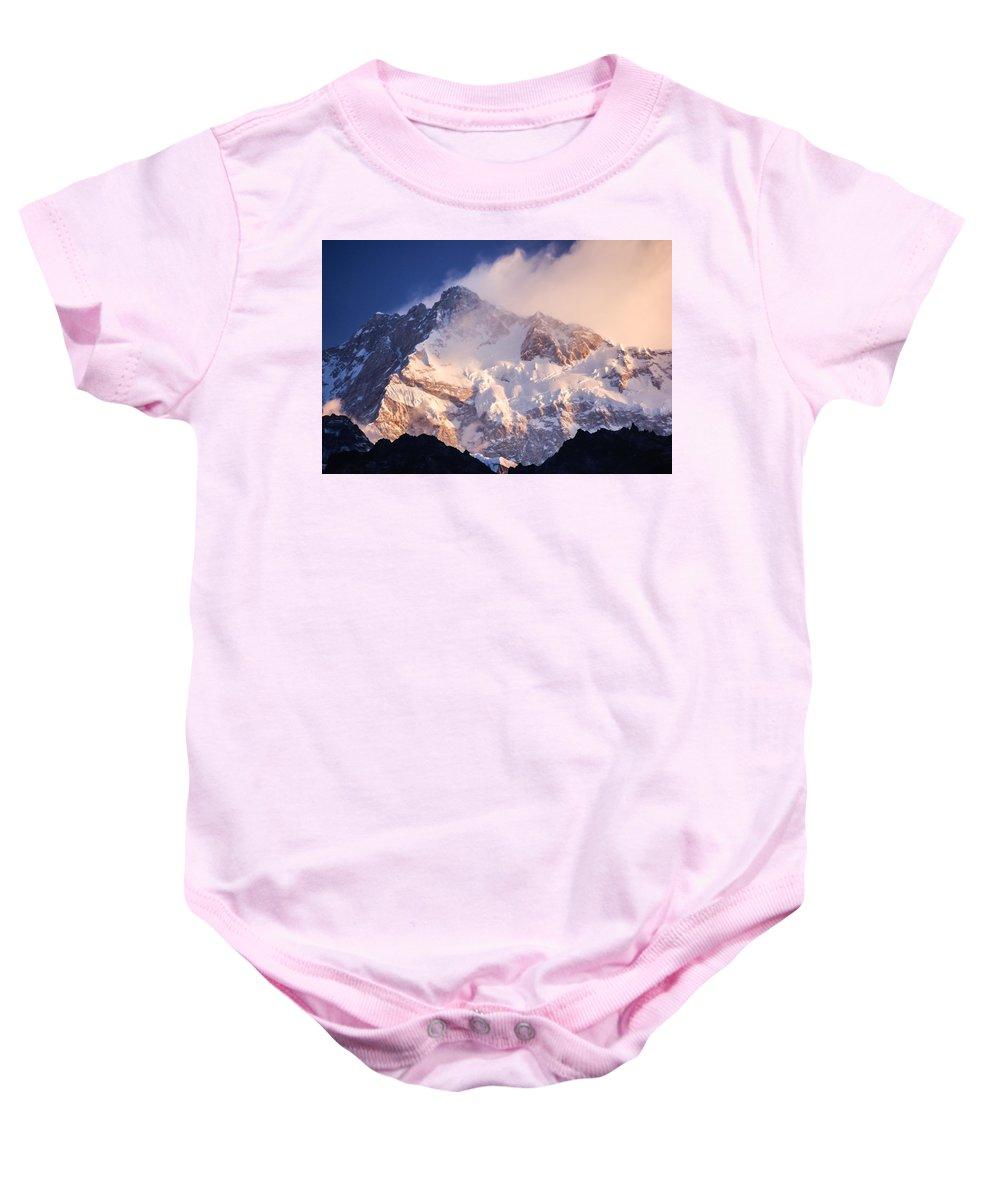 Goecha La Baby Onesie featuring the photograph Kanchenjunga From Goecha La by Helix Games Photography