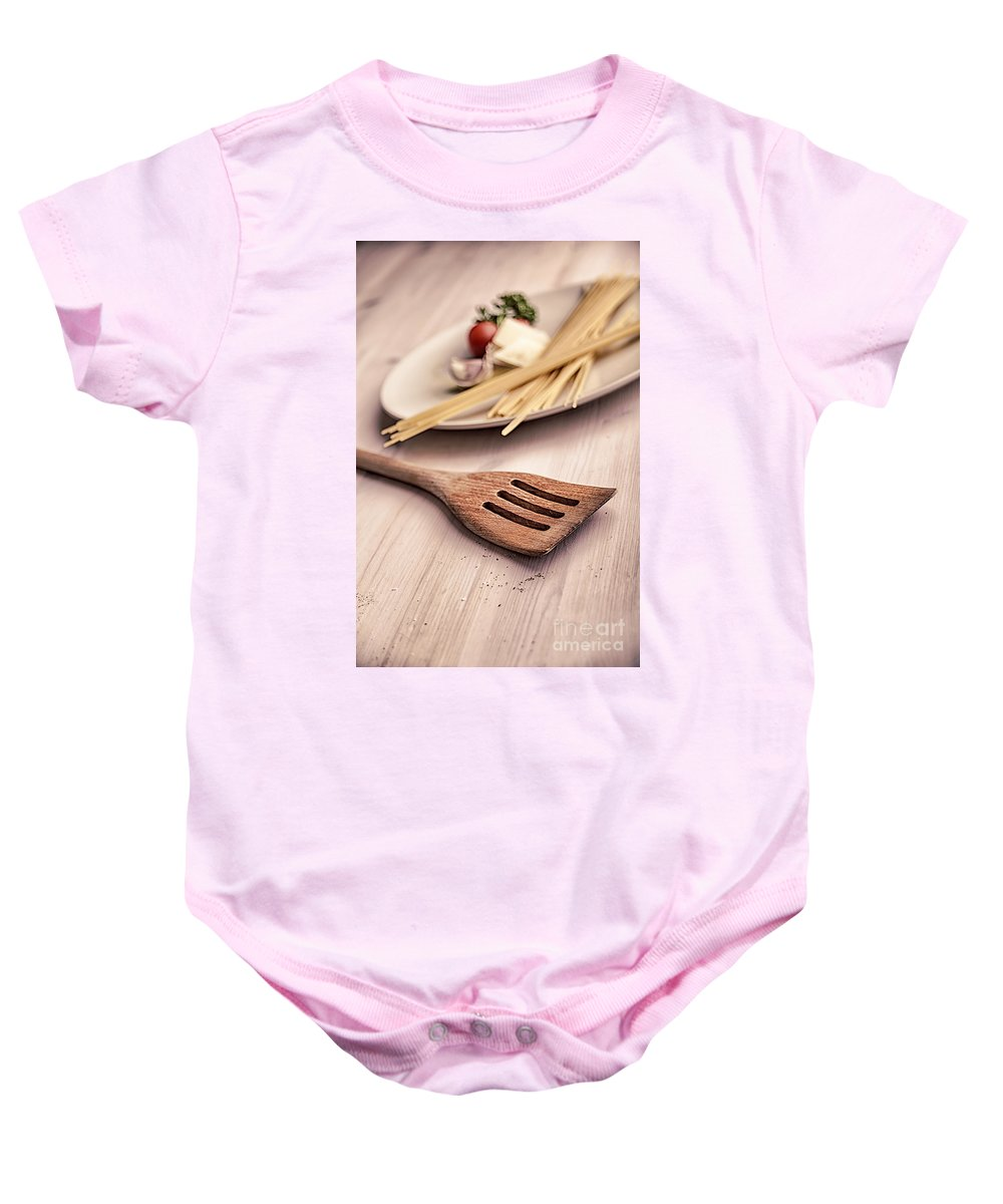 Spatula Baby Onesie featuring the photograph Kitchen Still Life With Pasta by Sophie McAulay