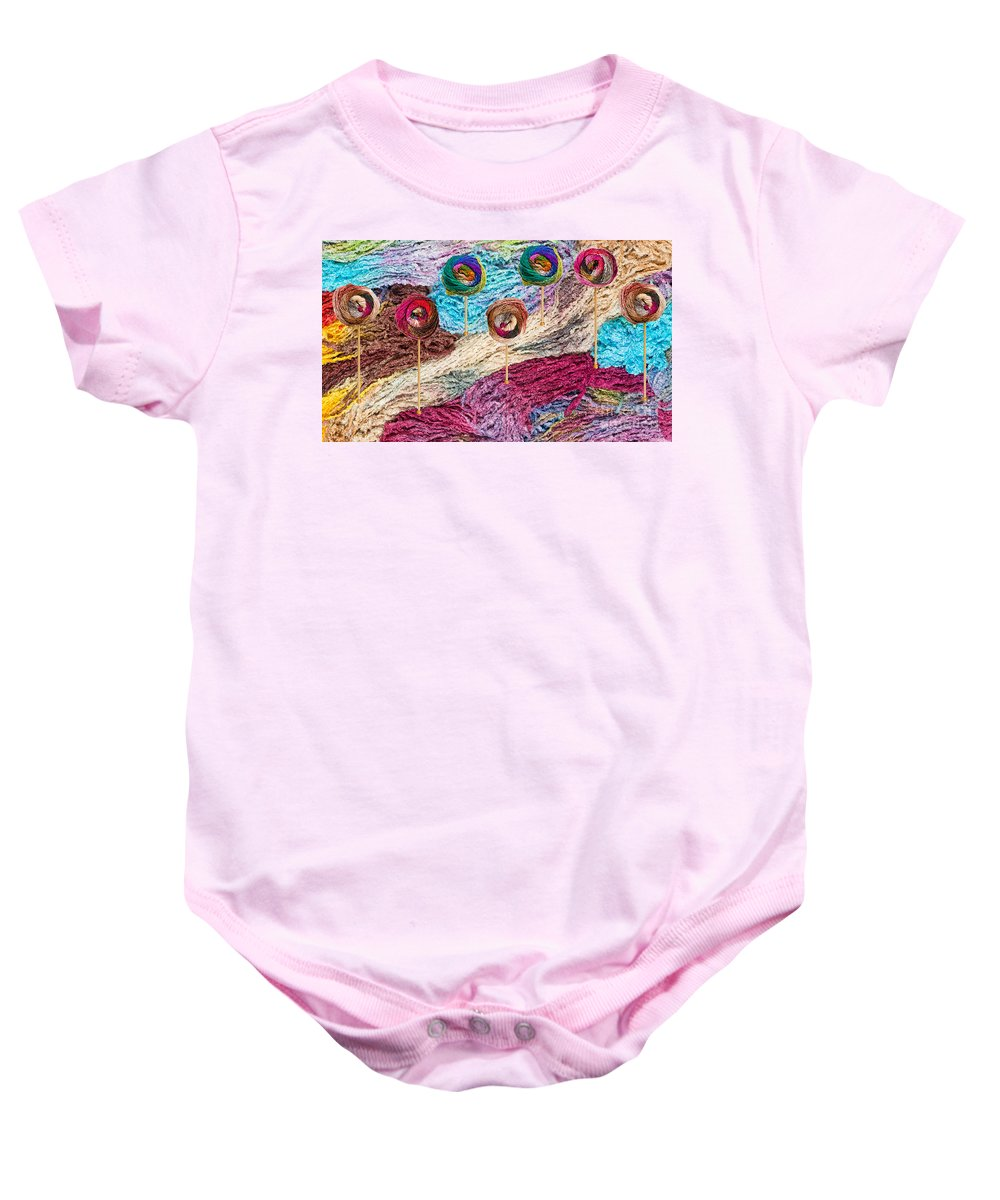 Colors Baby Onesie featuring the photograph Knitting Lane by Les Palenik