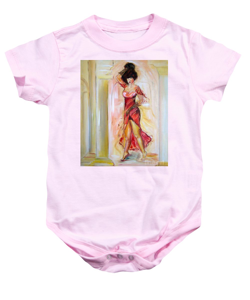 Contemporary Art Baby Onesie featuring the painting Lady In Red by Silvana Abel
