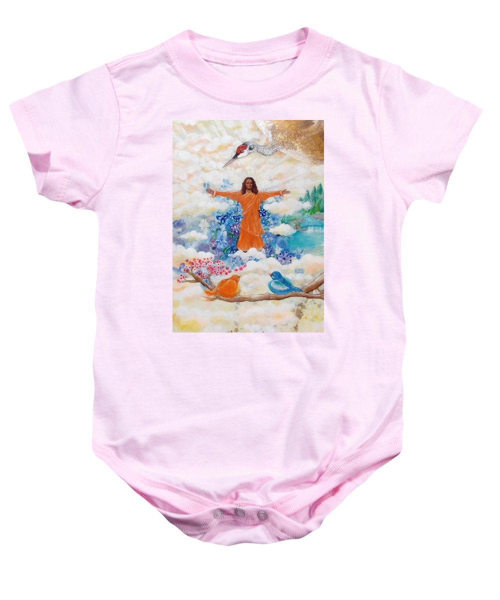 Paramhansa Yogananda Baby Onesie featuring the painting Land Of Mystery by Ashleigh Dyan Bayer