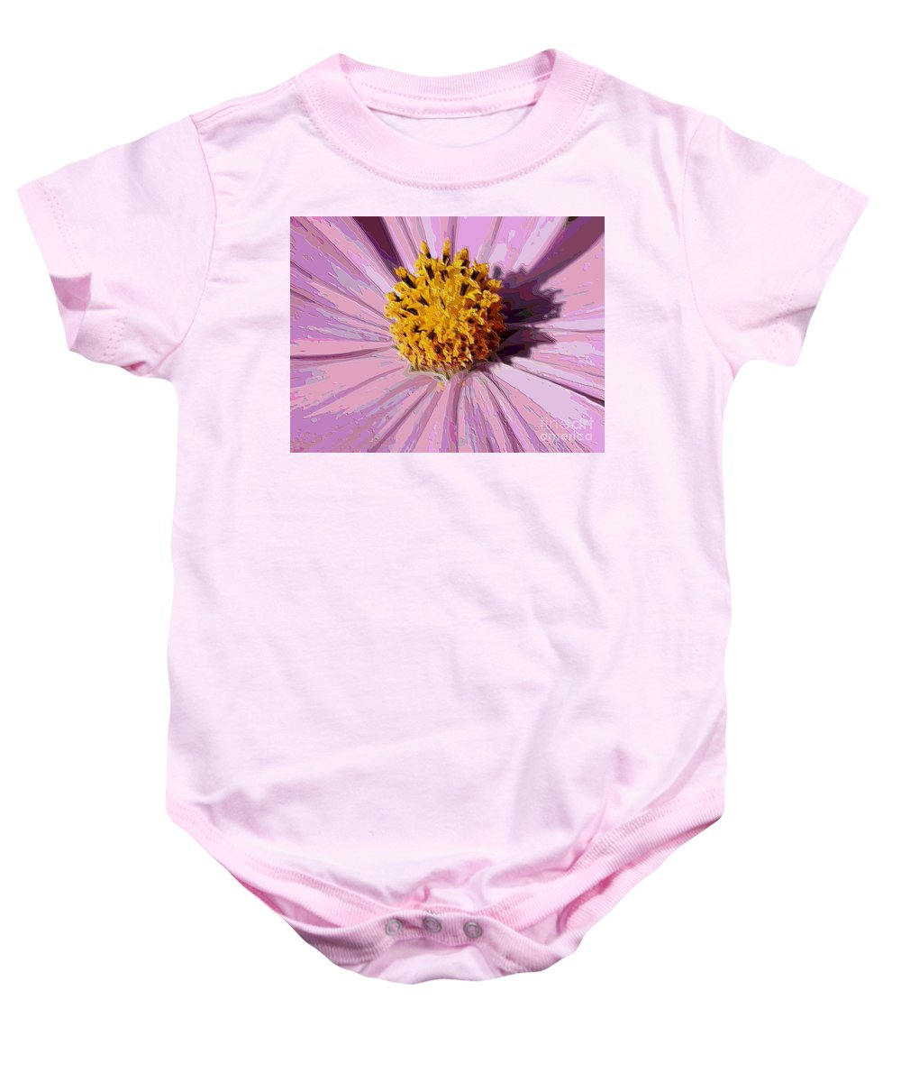 Pink Cosmos Baby Onesie featuring the photograph Layers Of A Cosmos Flower by Carol Groenen