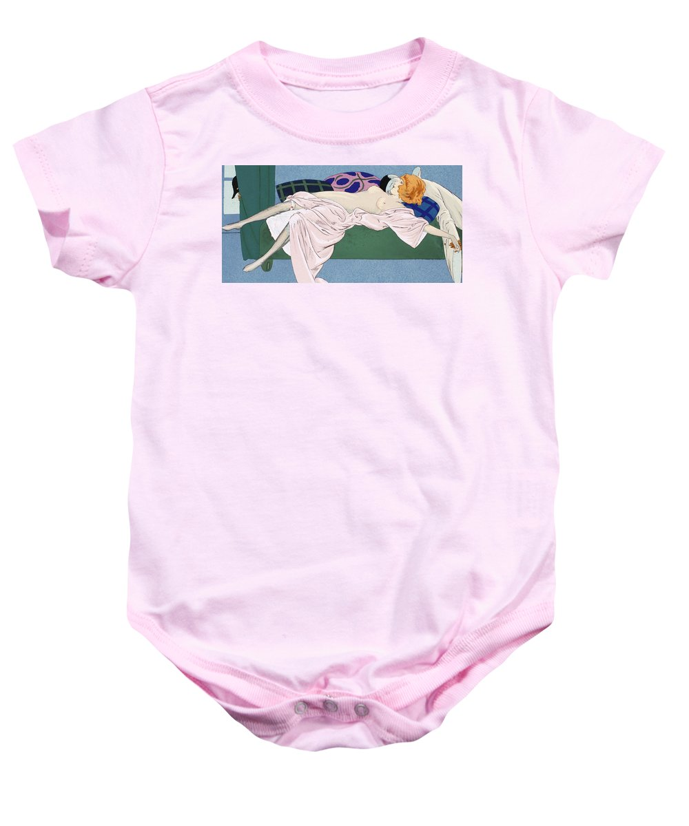 Nude Baby Onesie featuring the painting Les Cinq Sens by Ettore Tito